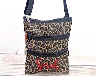 Leopard Love Crossbody Handbag / Crossbody Purse / Over Shoulder Canvas Bag / Monogrammed Purse / Personalized Purse /   Purse Handbag