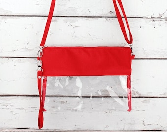 Clear Crossbody Travel Bag in Red Purse Clear Crossbody Bag Crossbody Phone Case