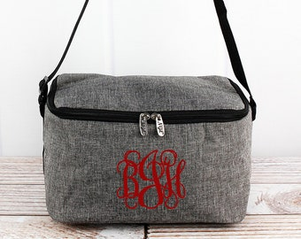 Steel Gray Crosshatch Shoulder Insulated Lunch Box for School Monogram Lunch Bag for Women Lunch Bag for Nurse