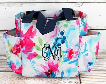 53e49842a0b Floral Watercolor Craft Tote With Pockets  Tote Bag Personalized   Monogrammed Diaper Bag  Utility Tote  Camera Bag