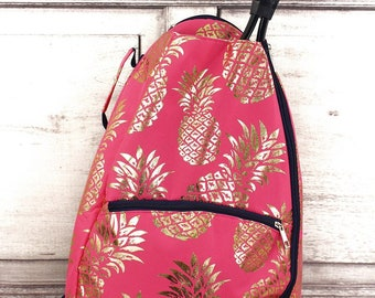 Metallic Gold Pineapple Passion in Coral Personalized Tennis Backpack For Women Custom Tennis Gifts For Her Tennis Bag