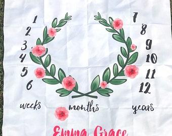 Rose Leaf Monthly Baby Blanket/ Monthly Calendar/ Newborn Photo/ Milestone Blanket