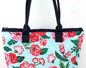 Painted Posies Over Shoulder Quilted Purse for Women Quilted Tote Bag Matching Purse and Wallet Quilted Shoulder Bag