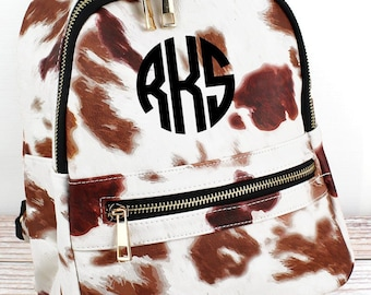 Till The Cows Come Home Lightweight Faux Leather Small Backpack Monogram Backpack/ Personalized Purse/ Monogrammed Backpack