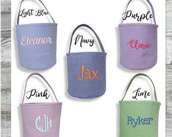 Gingham Personalized Easter Basket in Aqua or Lime/ Monogrammed Easter Basket/ Egg Hunt Basket