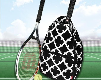 Black Moroccan Personalized Tennis Backpack For Women Custom Tennis Gifts For Her Tennis Bag