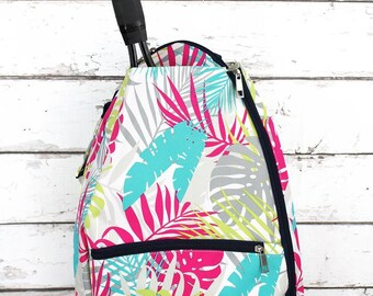 Tropical Palms Personalized Tennis Backpack For Women Custom Tennis Gifts For Her Tennis Bag
