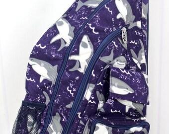 Fintastic Sharks Sling Backpack/ Sling Backpack for Hiking/ Sling Backpack Diaper Bag/ Diaper Bag for Dads/ Festival Backpack