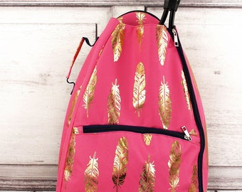 Metallic Gold Fancy Feathers in Coral Personalized Tennis Backpack For Women Custom Tennis Gifts For Her Tennis Bag