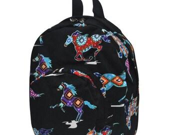 Wild Serape Horses Preschool Backpack Mini Backpack Purse Backpack Toddler Diaper Bag Backpack Small Backpack