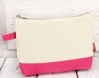 Canvas With Pink Trim Makeup Bag for Teen Girl Gifts Cosmetic Travel Case Cosmetic Bag Gift For Her