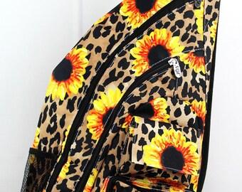 Sunflower Leopard Sling Backpack/ Sling Backpack for Hiking/ Sling Backpack Diaper Bag/ Diaper Bag for Dads/ Festival Backpack