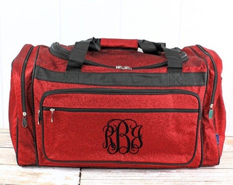 """Glitz & Glam Red 23"""" Duffle Bag Personalized Cheer Bag Kids Duffle Bag Gym Bag Girlie Carry On"""