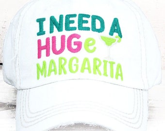 I Need A HUGe Margarita in Distressed White Graphic Baseball Hat Bad Hair Day Mother's Day Gift for Mom
