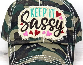 Keep It Sassy Decorative Ball Cap in Camo Graphic Baseball Hat Bad Hair Day Baseball Hat/ Mother's Day Gift