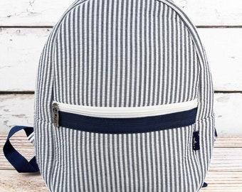 Striped Seersucker in Navy Preschool Backpack Mini Backpack Purse Backpack Toddler Diaper Bag Backpack Small Backpack