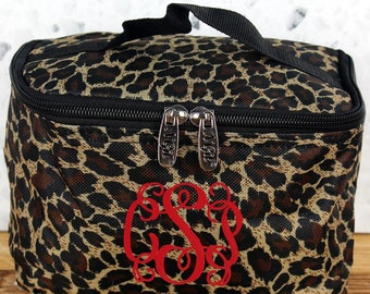 Leopard Love Top Lid Makeup Bag for Teen Girl Gifts Cosmetic Travel Case Cosmetic Bag Gift For Her