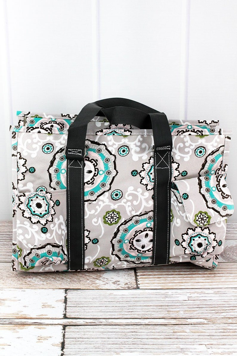 Garden View Monogrammed Diaper Bag Personalized Gift For Baby Shower Zippered Tote Bag