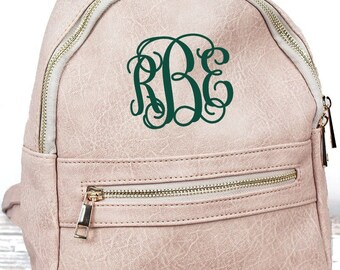 Sepia Small Lightweight Faux Leather Backpack Monogram Backpack/ Personalized Purse/ Monogrammed Backpack