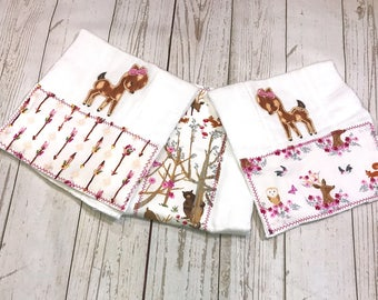Baby Fawn Appliqued Burp Cloths/ Burp Cloth Set/ Burp Cloths Personalized/ Monogrammed Burp Cloths/ Deer Nursery Decor Girl/ Deer Baby