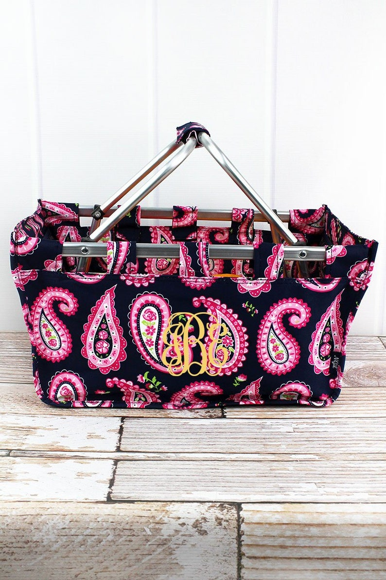Paisley Passion Collapsible Market Basket Grocery Tote Picnic Basket