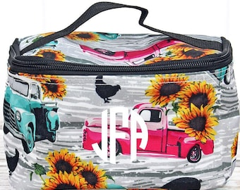 Sunflower Harvest Top Lid Makeup Bag for Teen Girl Gifts Cosmetic Travel Case Cosmetic Bag Gift For Her