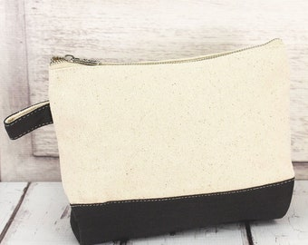 Canvas With Gray Trim Makeup Bag for Teen Girl Gifts Cosmetic Travel Case Cosmetic Bag Gift For Her