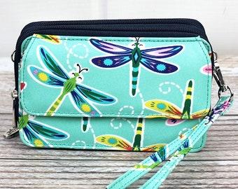 Dragonfly Away Organizing Clutch Crossbody/ Crossbody Handbag/ Crossbody Purse/ Over Shoulder Canvas Bag/ Mother's Day Gift/ Gift for Mom