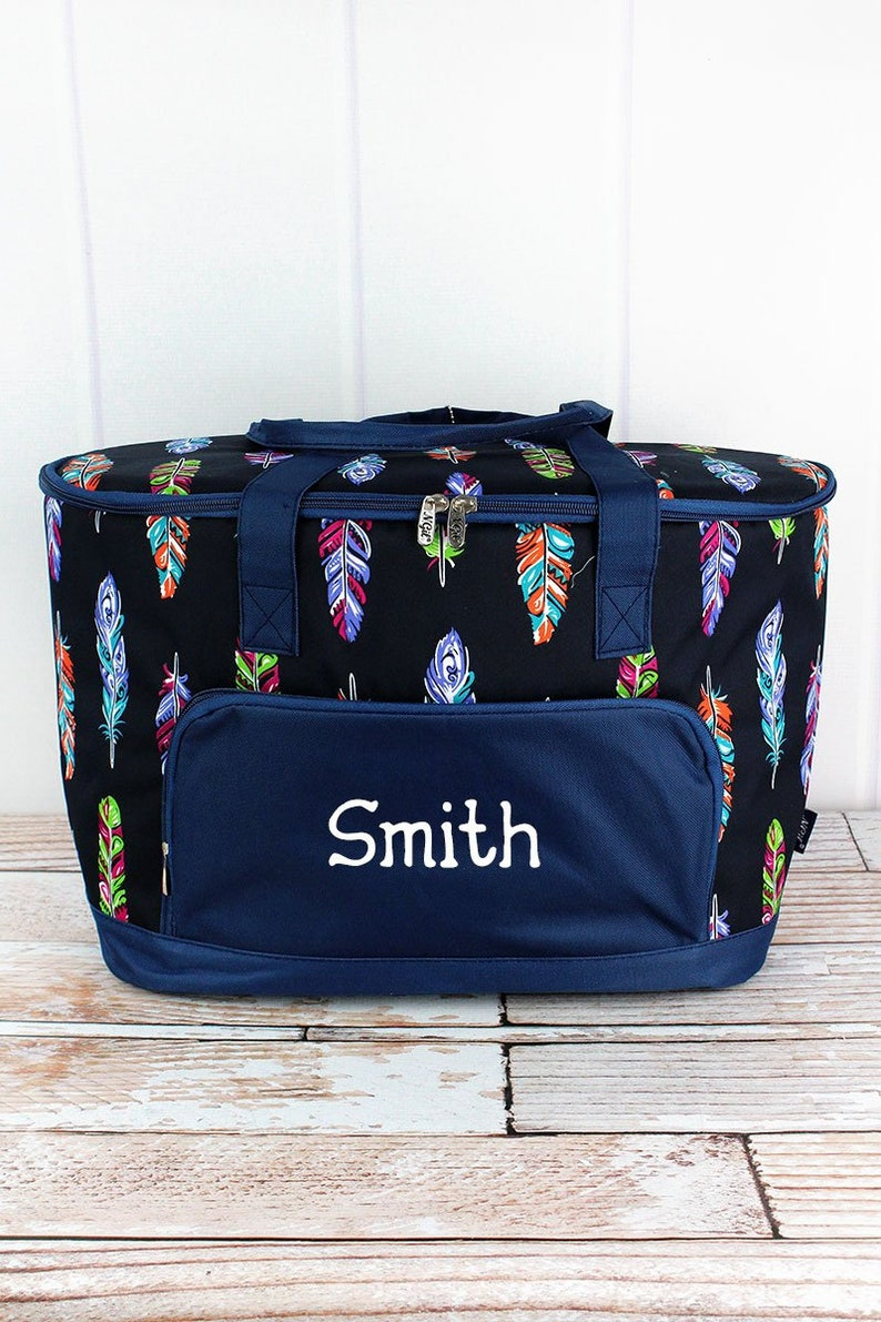 Fancy Feathers Soft Sided Personalized Insulated Cooler Beverage Tote Cooler Tote Bag