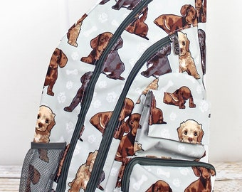 Puppy Love Sling Backpack/ Sling Backpack for Hiking/ Sling Backpack Diaper Bag/ Diaper Bag for Dads/ Festival Backpack