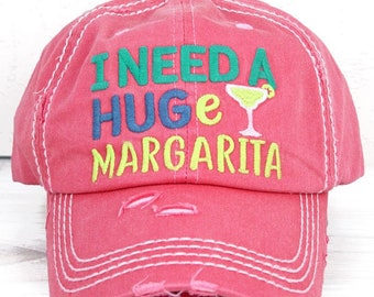 I Need A HUGe Margarita in Distressed Salmon Graphic Baseball Hat Bad Hair Day Mother's Day Gift for Mom