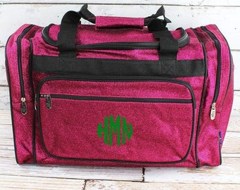"""Glitz & Glam Hot Pink 23"""" Duffle Bag Personalized Cheer Bag Kids Duffle Bag Gym Bag Girlie Carry On"""