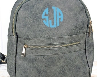 Dark Gray Lightweight Faux Leather Backpack Monogram Backpack/ Personalized Purse/ Monogrammed Backpack