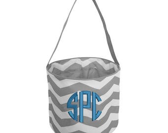 Chevron Easter Basket in Navy, Black, Gray, Purple, Lime or Pink/ Personalized Easter Bucket/ Monogrammed Halloween