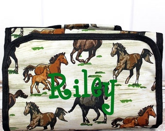 Wild Horses Roll Up Cosmetic Clutch Cosmetic Organizer Makeup Bag Teen Girl Gifts