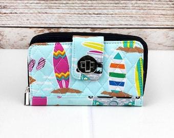 Surfs Up Quilted Clutch/ Wallet Women/ Clutch Wallet