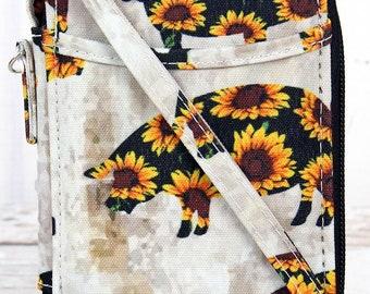 Sunflower Pig Quilted Wristlet/ Wallet Purse/ Keychain Wallet/ Keychain Wristlet/ Key Chain for Women