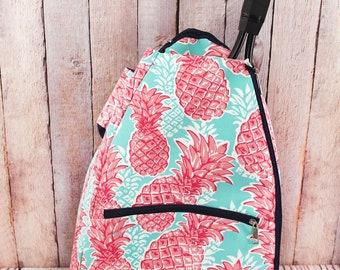 Pineapple Mint Splash Personalized Tennis Backpack For Women Custom Tennis Gifts For Her Tennis Bag