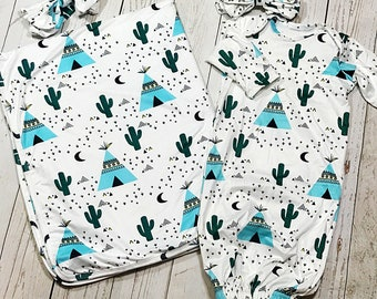 Blue Teepee Newborn Gown Set and Swaddle Blanket/ Baby Girl Blanket/ Baby Boy Blanket/ Coming Home Outfit/ Newborn Photo Prop