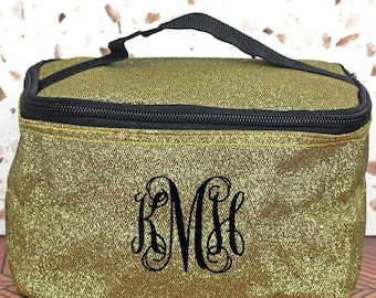 Glitz & Glam Gold Top Lid Makeup Bag for Teen Girl Gifts Cosmetic Travel Case Cosmetic Bag Gift For Her