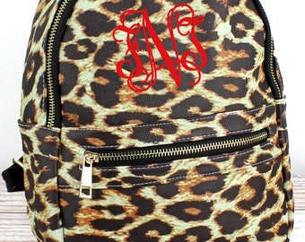Leopard Small Lightweight Faux Leather Backpack Monogram Backpack/ Personalized Purse/ Monogrammed Backpack