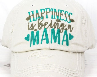 Happiness Is Being A Mama Decorative Ball Cap in Stone Graphic Baseball Hat Bad Hair Day Baseball Hat/ Mother's Day Gift