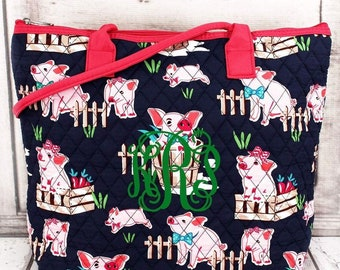 Playful Pigs in Pink Trim Over Shoulder Quilted Purse For Women Quilted Tote Bag Matching Purse and Wallet Quilted Shoulder Bag