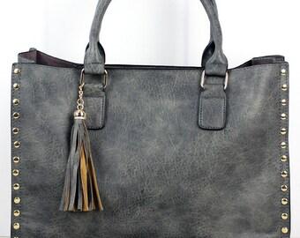 2-in-1 Dark Gray Faux Leather Studded Leather Tassel / Over Shoulder Bag / Over Shoulder Tote Bag /  Purse Unique / Purse Monogram