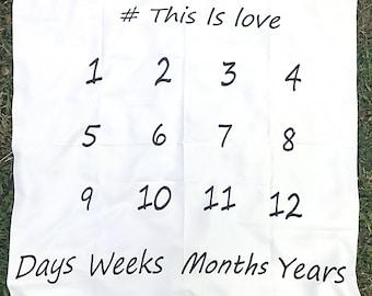 This is Love Monthly Baby Blanket/ Monthly Calendar/ Newborn Photo/ Milestone Blanket