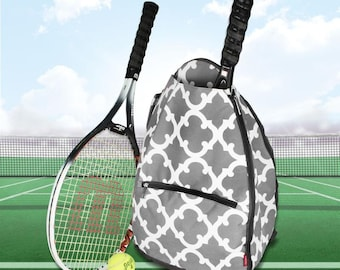 Gray Moroccan Personalized Tennis Backpack For Women Custom Tennis Gifts For Her Tennis Bag