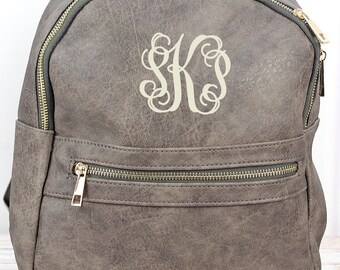 Taupe Gray Lightweight Faux Leather Backpack Monogram Backpack/ Personalized Purse/ Monogrammed Backpack