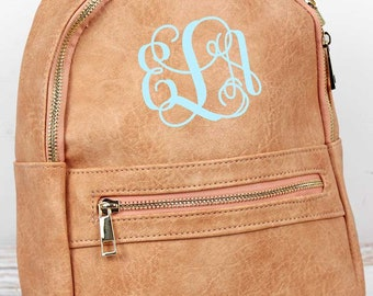 Peach Small Lightweight Faux Leather Backpack Monogram Backpack/ Personalized Purse/ Monogrammed Backpack