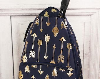 Metallic Gold Straight & Arrow in Navy Personalized Tennis Backpack For Women Custom Tennis Gifts For Her Tennis Bag