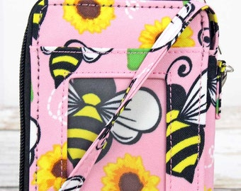 Busy Bee Quilted Wristlet/ Wallet Purse/ Keychain Wallet/ Keychain Wristlet/ Key Chain for Women
